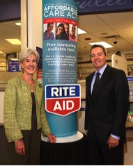 U.S. Dept. of Health and Human Services Secretary Kathleen Sebelius, joined Rite Aid Chairman and CEO John Standley at Rite Aid pharmacy in Hoboken, N.J., as the company announced that independent, licensed insurance agents will be providing free consultations in select Rite Aid stores beginning Oct. 1.