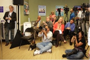 The news conference at store #1542 drew widespread media coverage