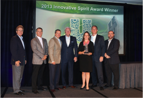 Members of the Unilever team receive their Innovative Spirit Award. From left, Rite Aid CAO and CFO Frank Vitrano, Rite Aid President and COO Ken Martindale, Rite Aid Chairman and CEO John Standley, President and CEO of the Dowell Group Jerry Dowell, Unilever VP of Growth Channels Kelly Downey, Unilever SVP of Customer Development Todd Tillemans and Rite Aid EVP of Merchandising Tony Montini.